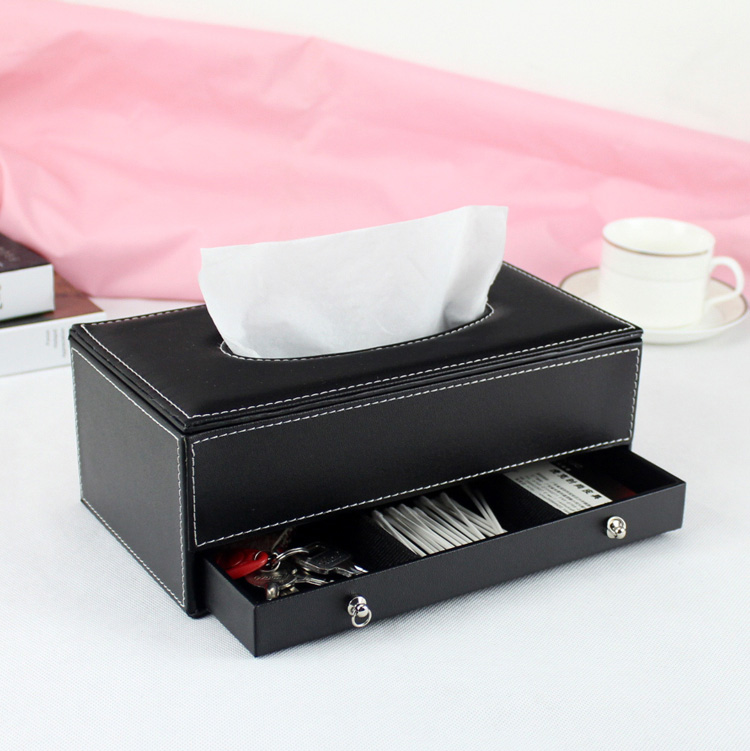 Wooden Struction Leather Rectangle Tissue Box Holder