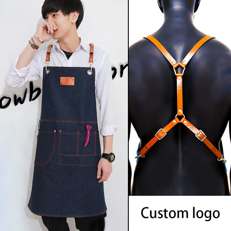 Новый ковбойский фартук для женщин принадлежности шашлыков джинсы Старший кожаный нагрудник джинсовый фартук кухня тематические