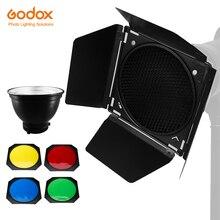 Godox Standard Reflector Bowens Mount with BD 04 Barndoor with Honeycomb Grid & 4 Color Filter Gel Set
