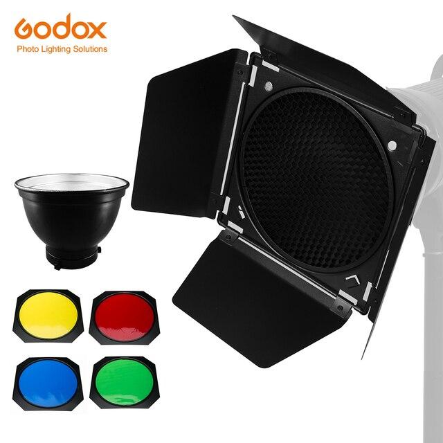 Godox Standart Reflektör Bowens Dağı ile BD 04 Barndoor Petek Izgara ve 4 Renk Filtresi Jel Seti
