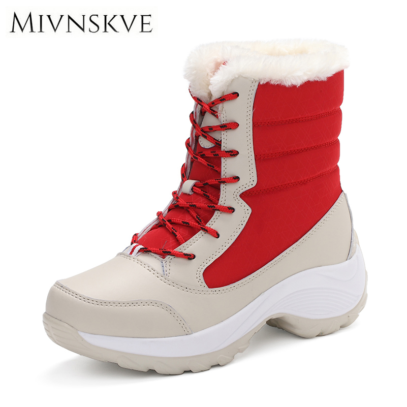 MIVNSKVE 2017 New Women Snow Boots Winter Warm Boots Flats High Quality Thick Bottom Platform Ankle Boots With Fur Cotton Shoes baby clothes new hot long sleeve newborn infantil boys kids 100% cotton for boys girls rompers winter spring autumn boy clothing