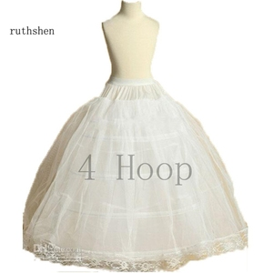 Image 2 - ruthshen New Arrival Flower Girls Petticoat 4 Hoop With Lace Appliques Little Kids Ball Gown Dress Underskirt Accessories