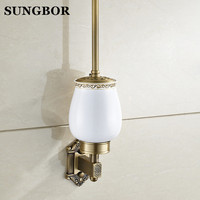 Free Shipping Wall Mounted Bathroom Accessories Brass Antique Toilet Brush Holder Ceramic Cup HY 93809F