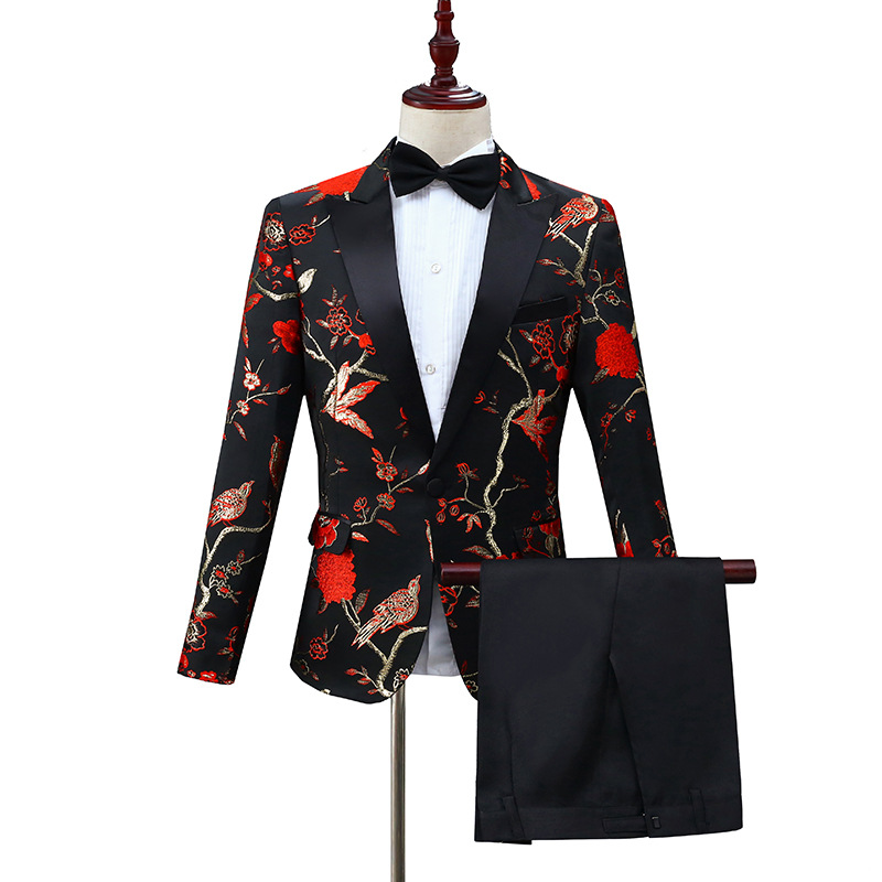 2 Piece Suit (Jacket+Pants)  Men Black Red Embroidery Wedding Suits Men Prom Tuxedo Suit Stage Singer Costumes Terno Masculino