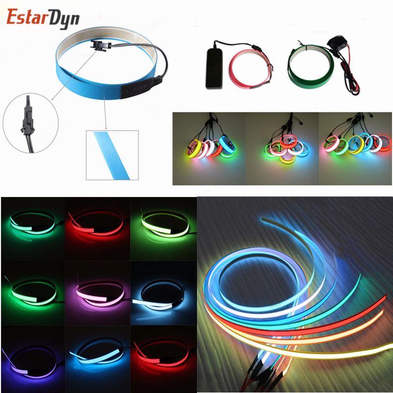 New 1M LED Flexible Neon Glow EL Tape Strip Strobing Electroluminescent Ribbon Cable Waterproof Led Strip Lights