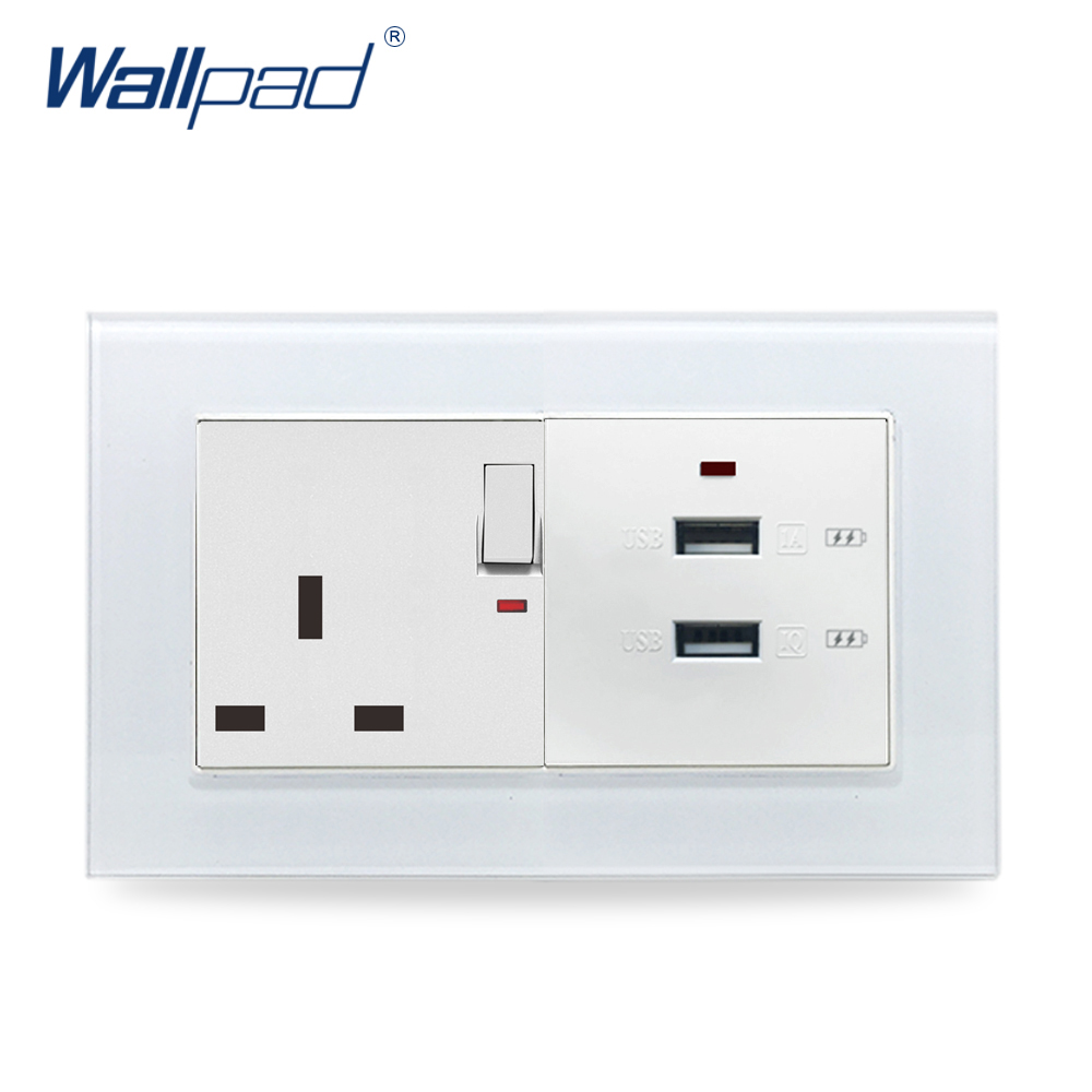 цена на Dual 3.0 USB Socket Wallpad Crystal Glass 110V-250V 3.0 USB Phone Charger + 13A UK Switched Socket with LED