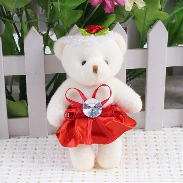 For Christmas Gift NEW 12CM 10pcs/lot pp cotton kid toys plush doll mini small teddy bear flower bouquets bear for wedding Uncategorized Decoration Stuffed & Plush Toys Toys