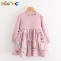 Sodawn 2017 Autumn New Girls Clothes Cartoon Patch Embroidered Cotton Long Sleeves Cute Princess Dress Girls