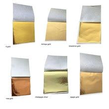 100 adet 8.5x9cm sanat zanaat İmitasyon altın gümüş bakır folyo kağıtları yaprak yapraklar levhalar yaldız DIY zanaat dekor tasarım kağıt
