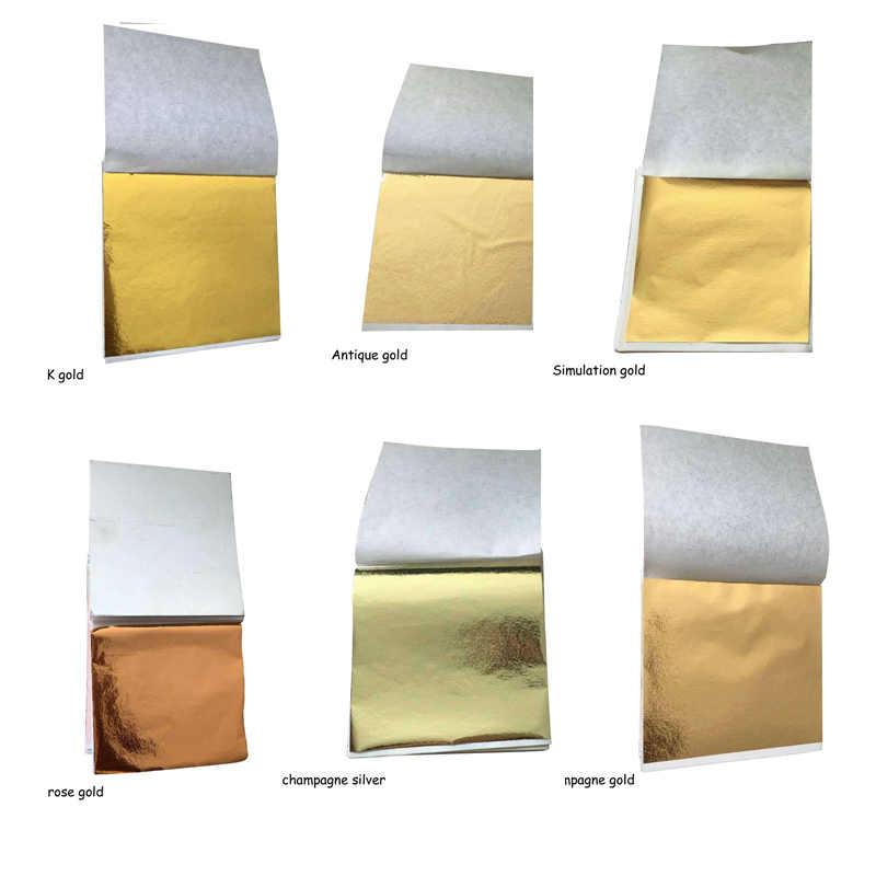 100 Pcs 9x9 ซม.Art CRAFT Imitation GOLD Sliver ฟอยล์ทองแดงเอกสารใบแผ่น Gilding DIY CRAFT ออกแบบตกแต่งกระดาษ