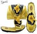 Capputine Cor do Ouro New Arrival Novidade Moda Senhoras Sapatos E Bolsa Definir Sapatos Italianos Com Saco de Harmonização Para O Partido M10532