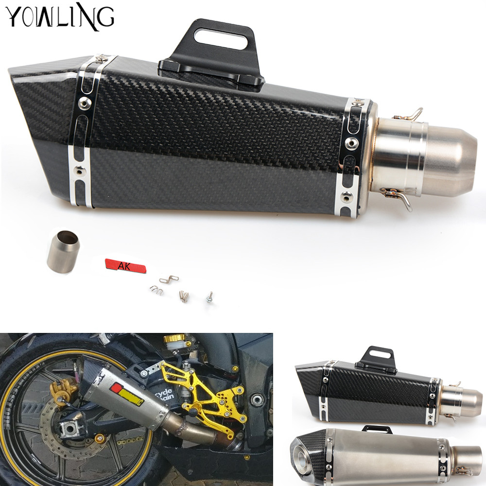 Motorcycle Real carbon fiber exhaust Exhaust Muffler pipe escape moto exhaust pipe db killer for all motorcycles 36-51MM free shipping carbon fiber id 61mm motorcycle exhaust pipe with laser marking exhaust for large displacement motorcycle muffler