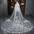 2017 Real Photos 3M White Beautiful Cathedral Appliques Flowers Lace Edge Wedding Bridal Veil With Comb Wedding Accessories