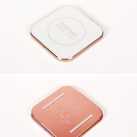 100PCS Square Aluminum Alloy Ultra Thin 6 8mm Thickness Cellphone Wireless Charging Pad For Samsung GALAXY
