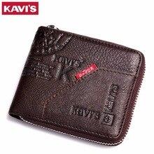 KAVIS Men Leather Wallets Card Holder Zipper Designer Male Purse Wallet High Quality Business Wallet Men Carteira Masculina