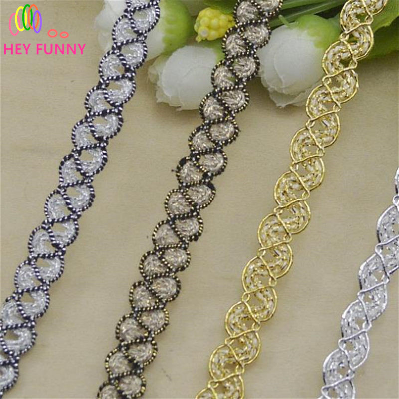 HEY FUNNY 10m/lot 1cm High Quality Trim Sewing Centipede Braided Lace Ribbon DIY Party/clothes decoration Accessories Curve Lace