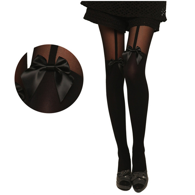 Thin Transparent Women Tights Bow Accessories Pantyhose