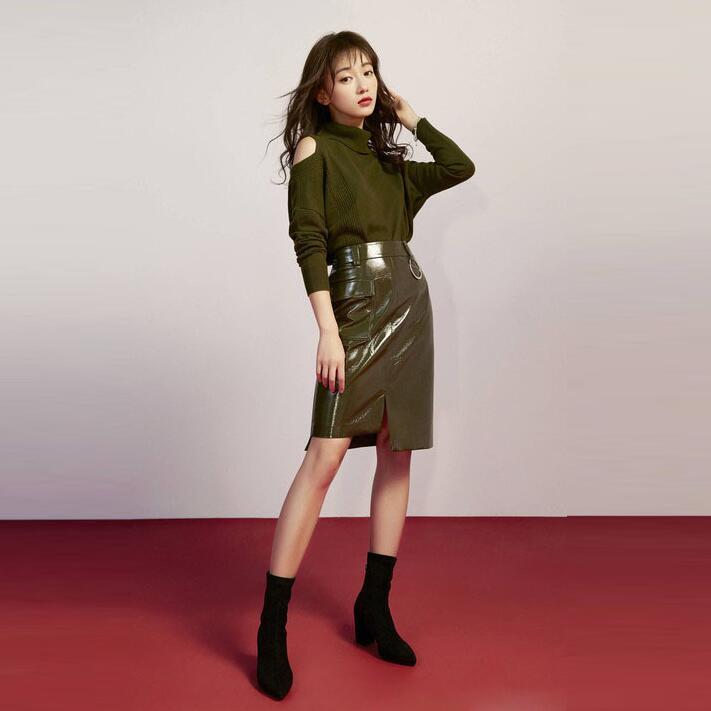 Style Cuir Col Hiver Nouvelle Service Chandail Automne Jeux Costume Vert Jupe Roulé Vêtements Occasionnels Sets Star Pu Femmes U55qR