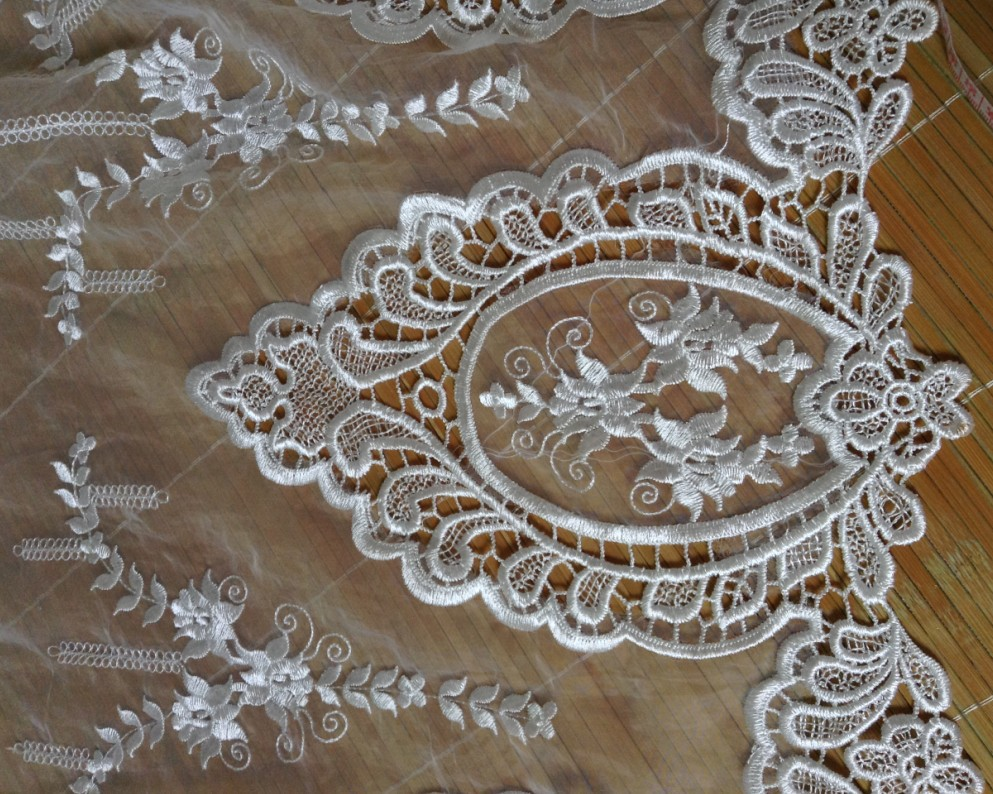 Compare prices on organdy dresses online shoppingbuy low price high quality ivory organdy bilaterally polyester flower embroidery lace fabric for wedding dress and bridal dress ombrellifo Images