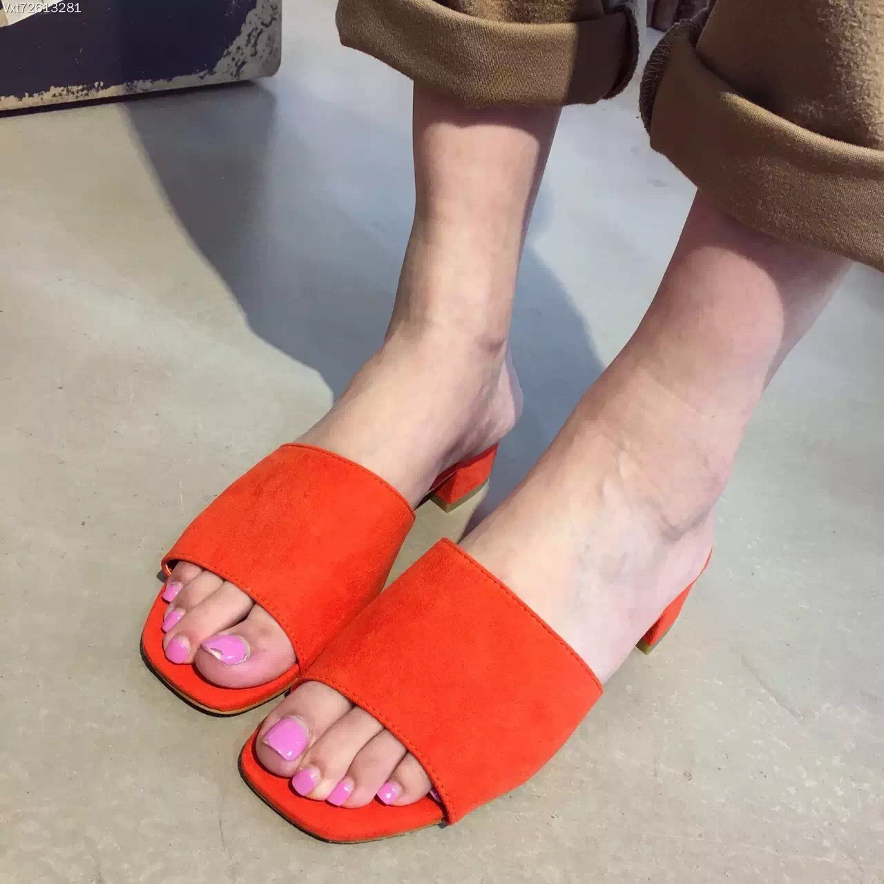 2016 Women's Fashion Suede Summer Slipper Orange Shoes Square Low Heel Sandalias Pompones Mules Cuir Femme