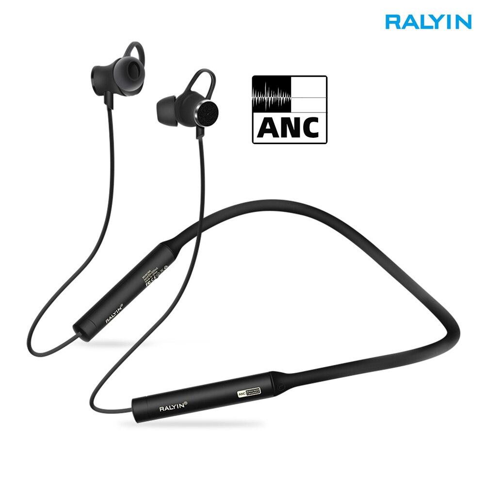 Ralyin ANC Active Noise Cancelling fone de ouvido bluetooth esporte fone de ouvido sem fio Bluetooth fone de ouvido com microfone para xiaomi
