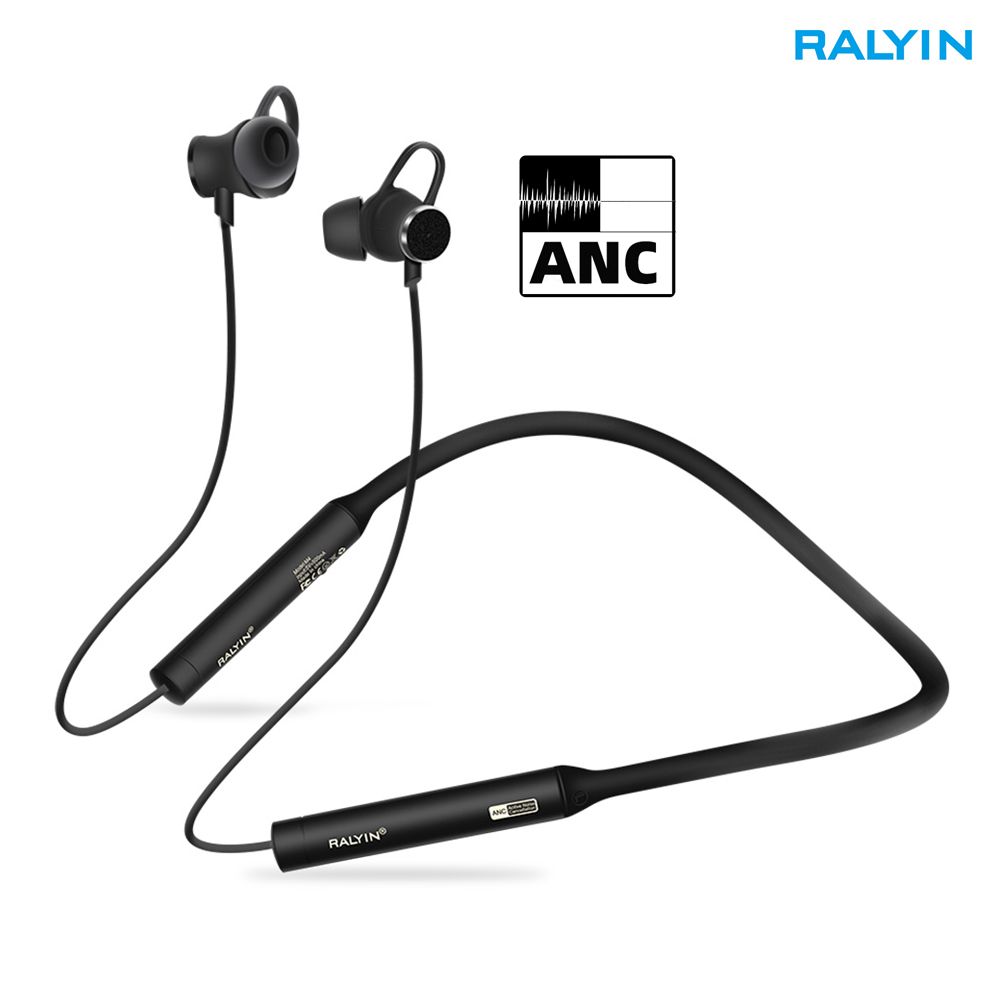 Ralyin Active Noise Cancelling bluetooth earphone sport wireless headphone ANC Bluetooth headset with microphone for xiaomi