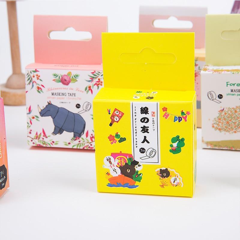 1 PCS 15mm X 7m Cute Kawaii Flowers Food Animals Decorative Washi Tape DIY Scrapbooking Masking Tape School Office Supplies