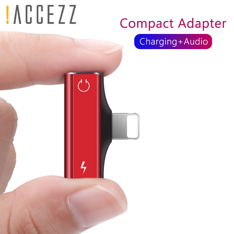 !ACCEZZ Mini Double Lighting Audio Charger Cable For Iphone X 8 7 Plus XS MAX XR Charging Adapter AUX Splitter Connector Cables