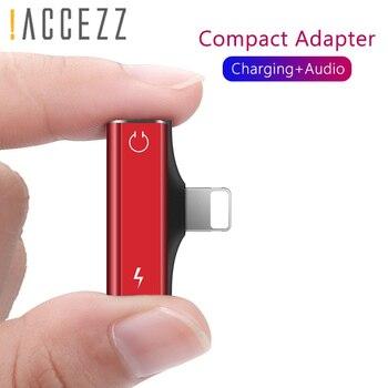 ¡! Cable cargador de Audio ACCEZZ Mini de doble iluminación para iphone X 8 7 Plus XS MAX XR, adaptador de carga AUX, Cables conectores divisores