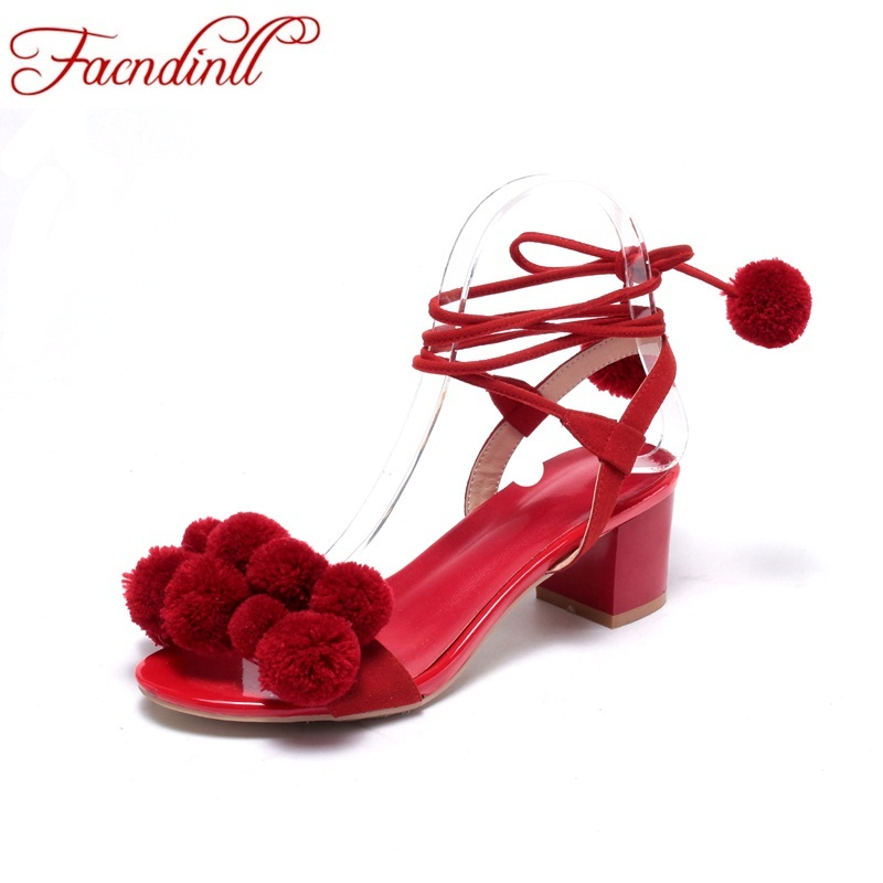 FACNDINLL summer shoes gladiator sandals women high heels lace up pom pom sandals women sexy open toe fashion rome sandals woman facndinll summer shoes women sandals