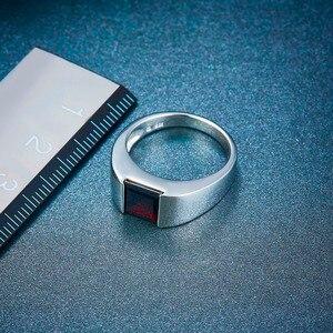 Image 4 - Naturalny czarny granat Unisex pierścionek 925 srebro 1.9 karaty naturalny kamień szlachetny pierścionki Fine Jewelry klasyczny Design na prezent