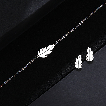 CACANA Stainless Steel Sets For Women Feather Shape Necklace Bracelet Earring Jewelry 3