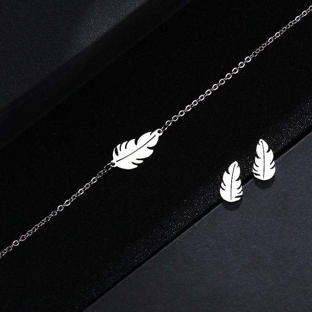 CACANA Stainless Steel Sets For Women Feather Shape Necklace Bracelet Earring Jewelry Lover's Engagement Jewelry S379 3