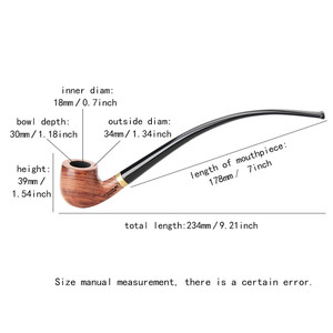 Image 2 - MUXIANG Churchwarden Long Stem kevazingo wood Smoking Pipe 3mm Filter Wooden Tobacco Pipe Acrylic Mouthpiece ad0008