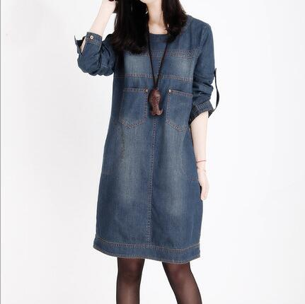Autumn Spring Women Plus Size Demin Dress Elegant Vintage Long Sleeves Loose Casual Solid Color