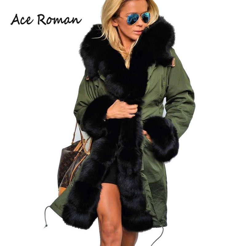 New Winter Women Jacket Wadded Green Outwear Casual Womens Down Parkas Thicken Coats Faux Fur Collar Down Warm Lady Coat HD2285