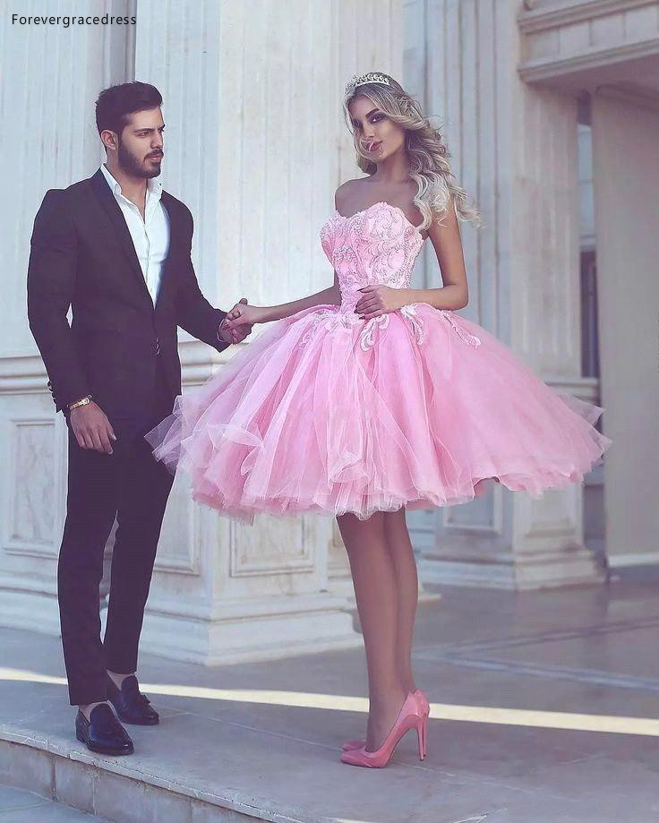 2019 Cheap Short Sweetheart Homecoming Dress Pink A Line Knee Length Graduation Cocktail Party Dress Plus Size Custom Made