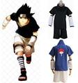 2Colors Anime Naruto Uchiha Sasuke Black/Blue Uniform Cosplay Costumes Sasuke 1st/2nd Generation Full Set Costume