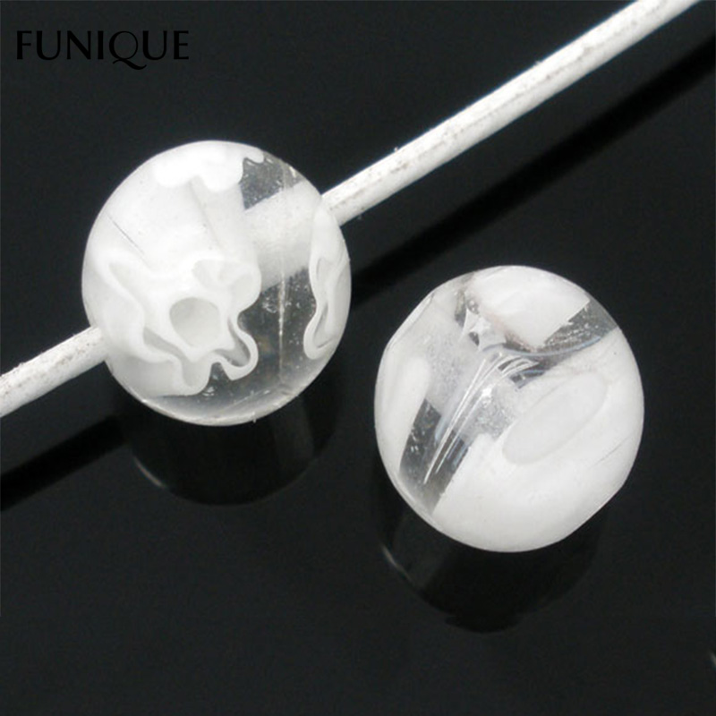 FUNIQUE 50PCs White Millefiori Lampwork Round Beads Accessories For Jewelry Making DIY Craft Women Jewelry Bead 8mm(China)