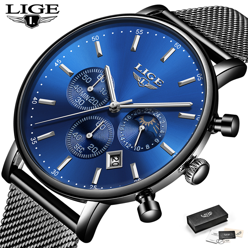 LIGE Mens Watches Top Brand Luxury Men Casual Fashion Watch Mens Stainless Steel Waterproof Quartz Watch Relogio Masculino+Box lige mens watches top brand luxury fashion business casual watch men stainless steel waterproof automatic mechanical watch box