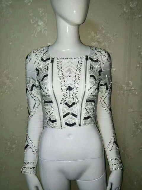 Top Quality Fashion Beading Full Sleeve Tight Bandage Top HL Tanks Tops Short Tops