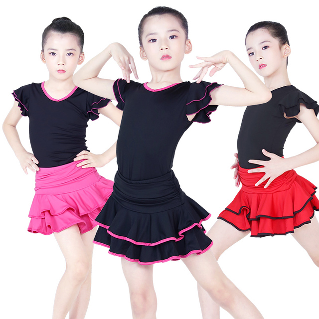 Children Latin Dance Dress V neck Short Sleeve Suit Dance Practice Clothes Girls Latin Dance Skirt