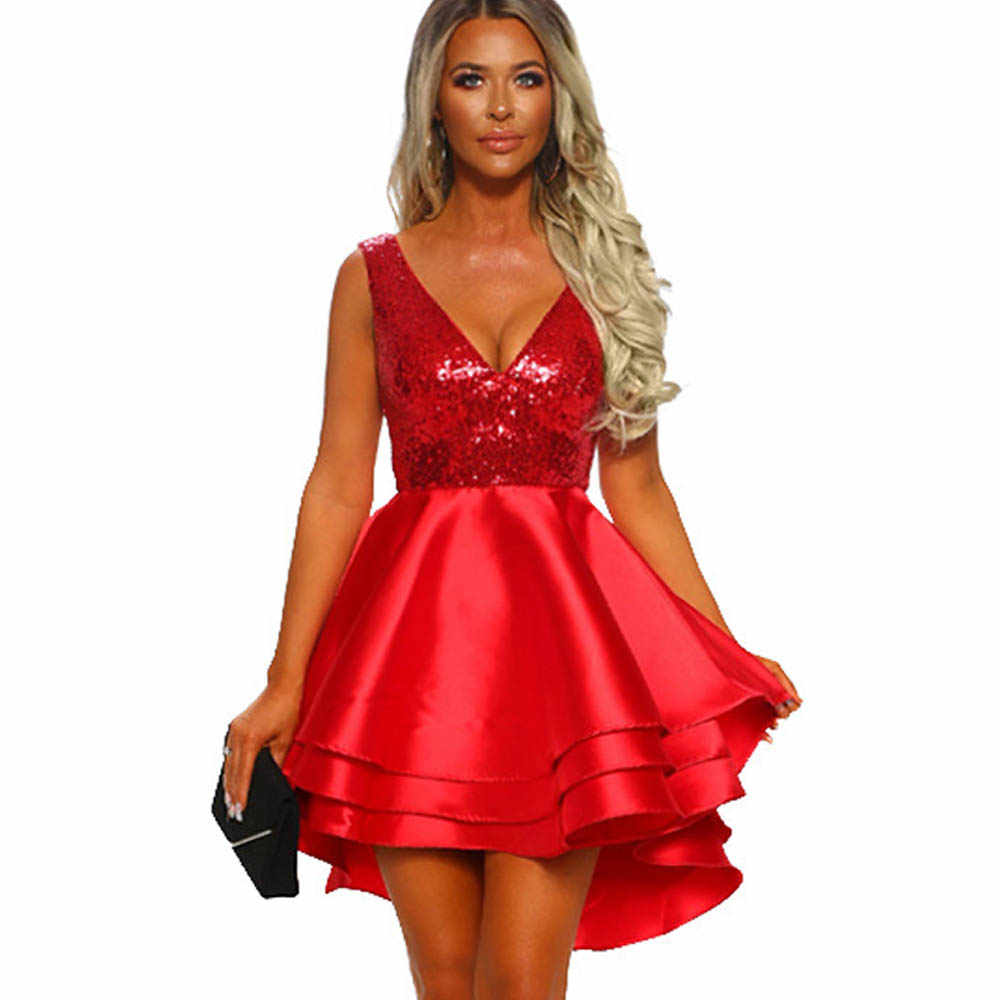 Detail Feedback Questions about Sexy Red Sequin Dress Women Elegant Glitter  Multi Layer Skater Dress Shine Sparkly Club Party Dresses Vestidos Robe  Femme on ... db9fbb4c35de