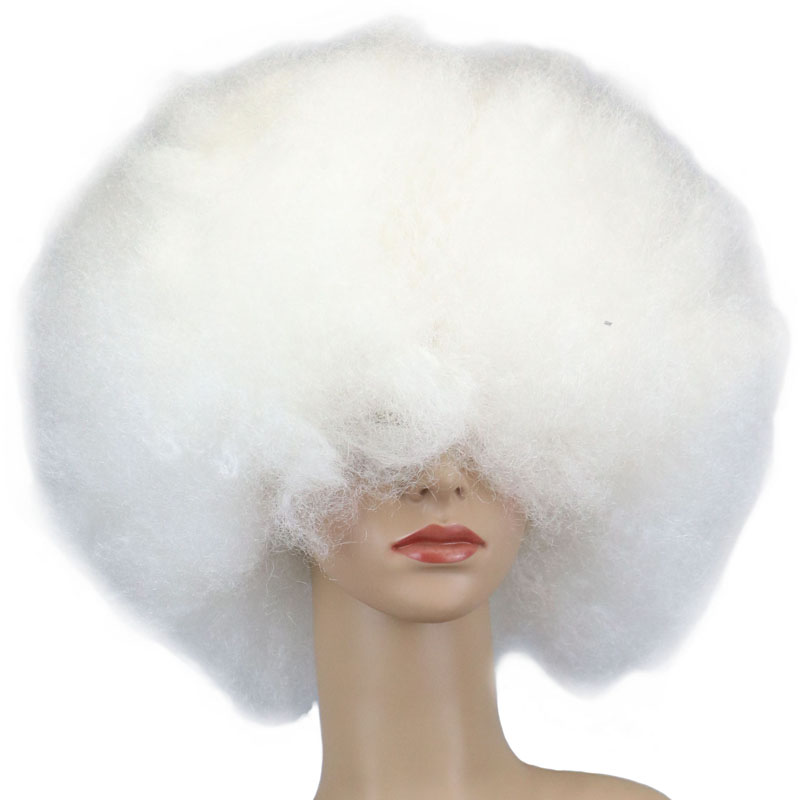QQXCAIW 200g Super Big Short Culry Cosplay Party White Dance Afro Wigs