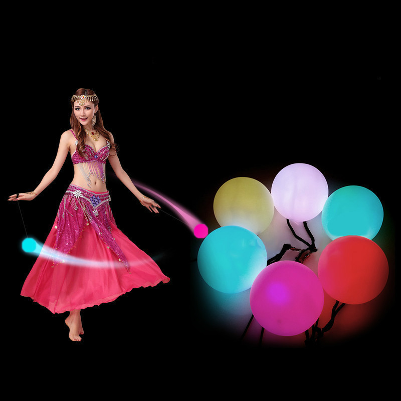 1 Pcs Belly Dance Balls RGB Glow LED POI Thrown Balls For Belly Dance Hand Props Stage Performance Accessories