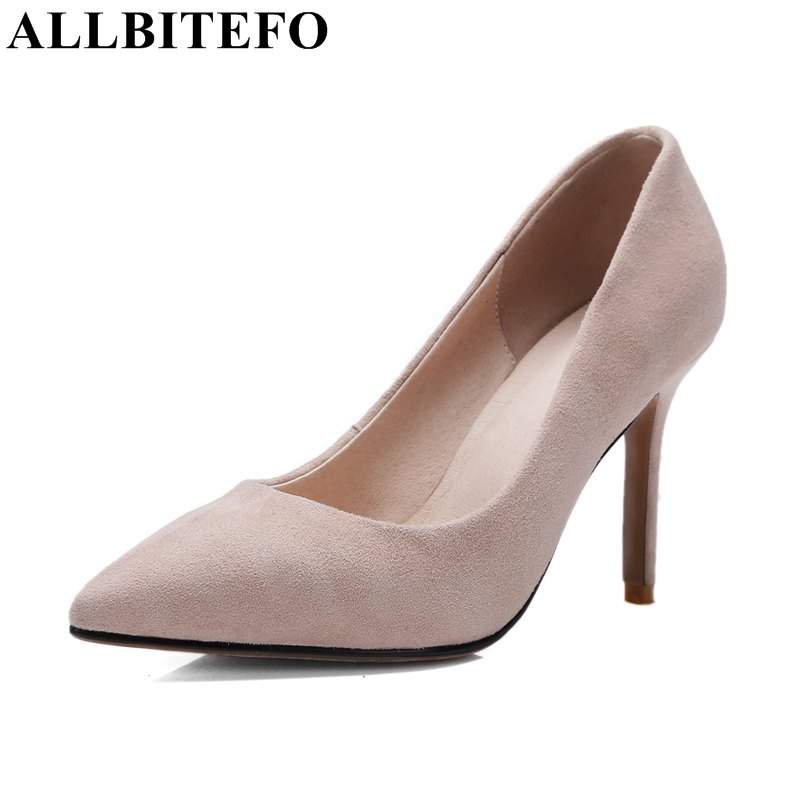 ALLBITEFO fashion sexy high heels sheepskin pointed toe party shoes woman 2017 spring thin heel office ladies shoes women pumps  allbitefo fashion sexy thin heels pointed toe women pumps full genuine leather platform office ladies shoes high heel shoes