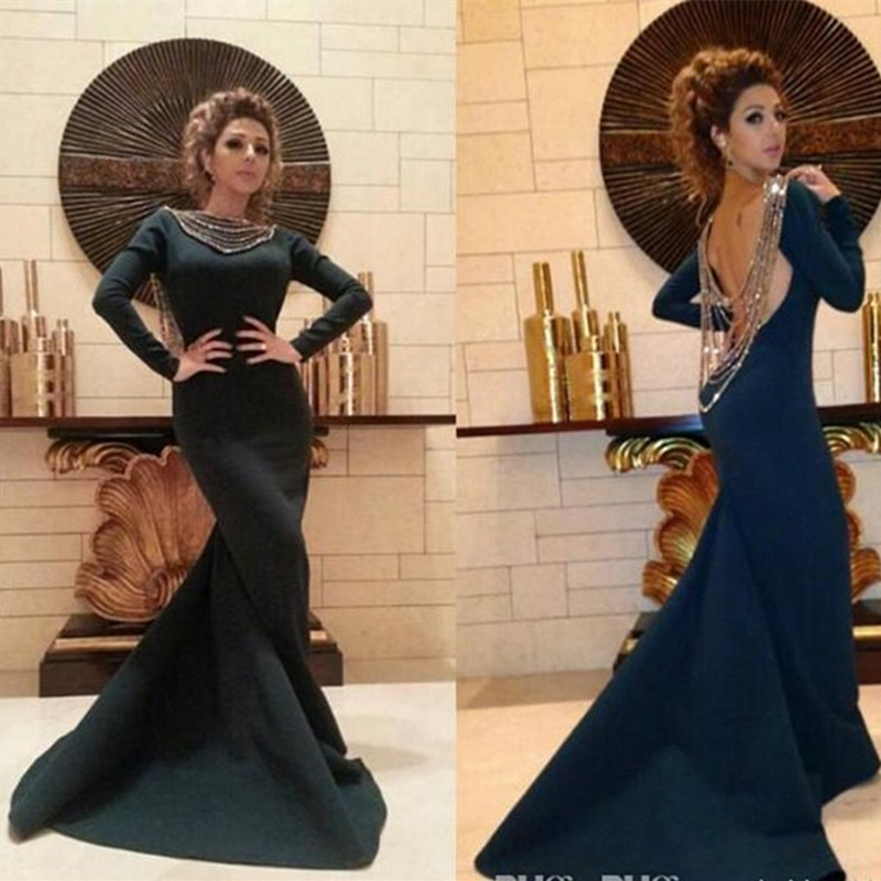 Long Sleeve Fashion Show Dress Mermaid Celebrity Dresses Elegant Black Arab Muslim Long Evening Dresses Prom Party Gown Платье