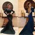 Desfile de Moda Vestido de Manga longa Sereia Vestidos de Celebridades Elegante Preto Árabe Muçulmanos Longos Vestidos de Noite do baile de Finalistas Do Partido Do Vestido