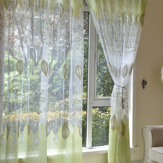 Transpa Curtains Sheer Green Leaves Rustic Blinds Bedroom Living Room Kitchen Custom Made