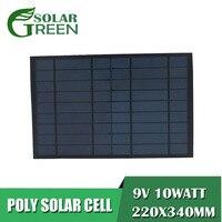 10 Вт 10 Вт 9 В 1120ма солнечная панель эпоксидный поликристаллический кремний DIY 6 в батарея заряд энергии Модуль Мини солнечных батарей игрушка